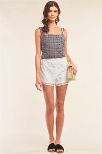 Multicolor Sleeveless Plaid Square Neck Buttoned Trim Cropped Top  - KjSelections