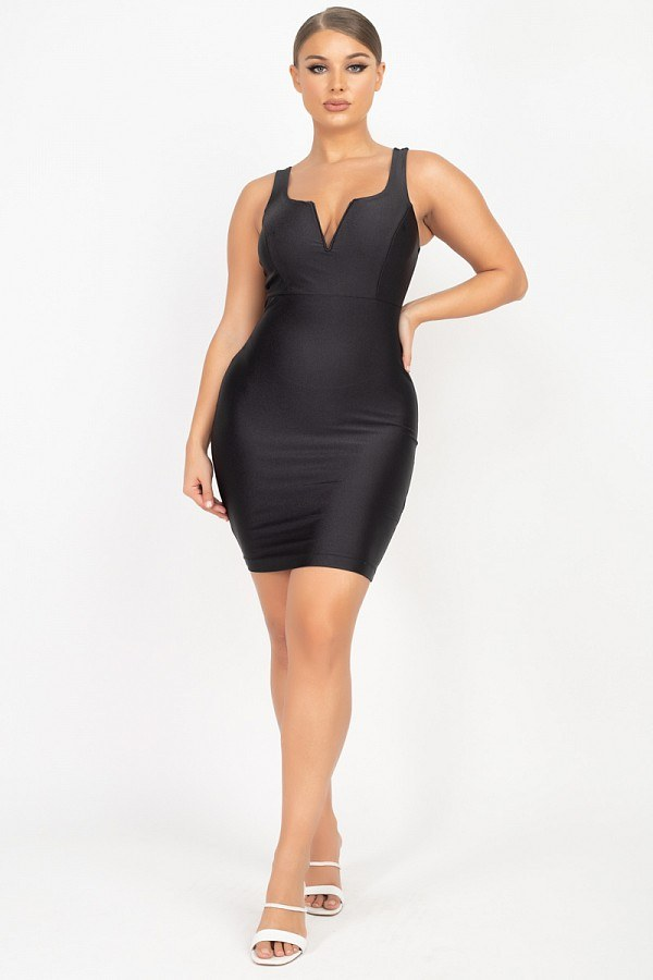 Sleeveless Stretch Satin Mini Dress  - KjSelections