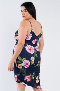 Plus Size Navy Hot Pink Floral Mini Wrap Dress  - KjSelections
