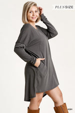 Long Raglan Sleeve Round Neck Raw Edged Detail Dress With Side Slits And Pockets  - KjSelections
