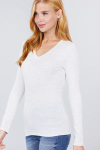Cotton Jersey V-neck Top  - KjSelections