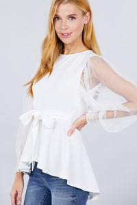 Mesh Puff Sleeve Peplum Top  - KjSelections