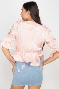 Surplice Short Sleeve Ruffle Top  - KjSelections