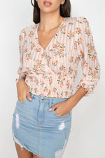 Floral Shadow Stripe V-neck Top  - KjSelections