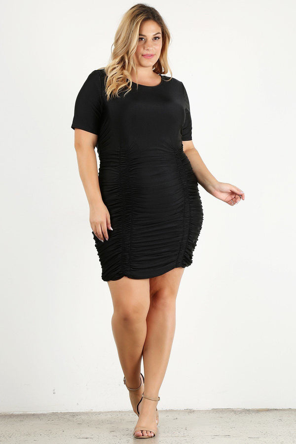 Plus Size Solid Bodycon Mini Dress  - KjSelections