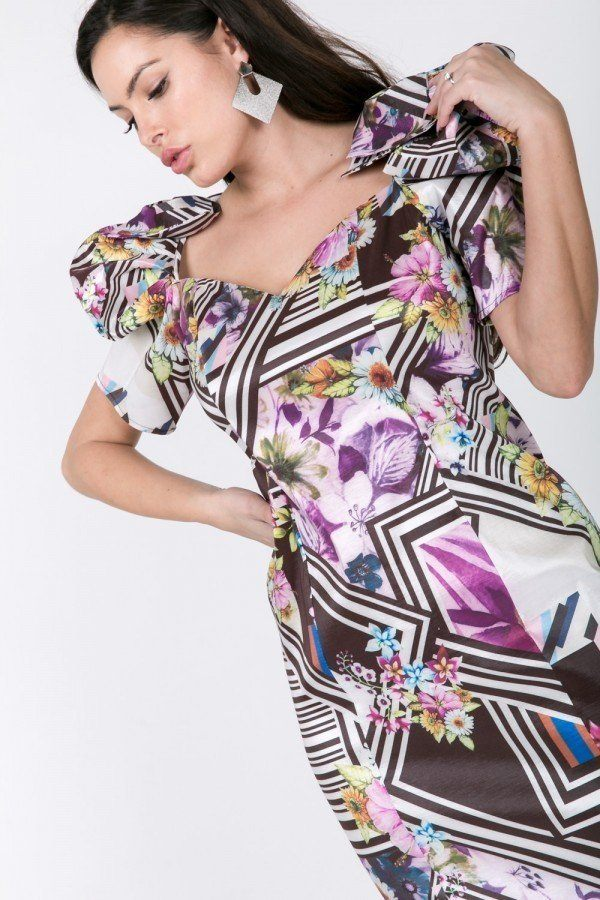 Puff Sleeve Bodycon Print Dress  - KjSelections