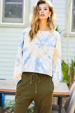 Round Neck Oversize Fit Crop Tie-dye French Terry Pullover  - KjSelections