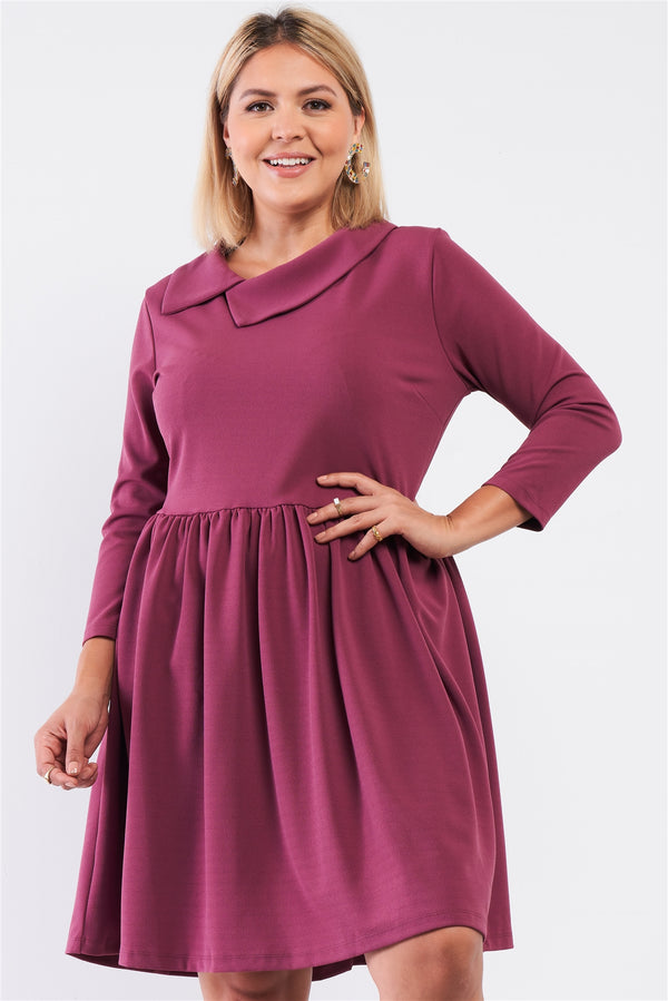 Plus Pleated Preppy Fit & Flare Long Sleeve Asymmetrical Peter Pan Collar Mini Dress  - KjSelections