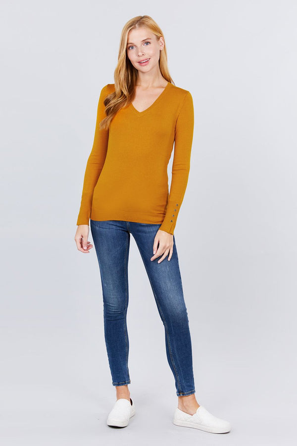 V-neck Sweater W/rivet Button  - KjSelections