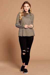 Striped Loose-fit Knit Sweater  - KjSelections