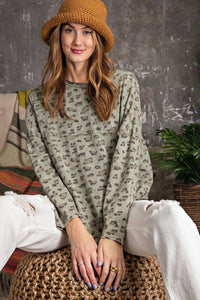 Leopard Printed Garment Dye Loose Fit Knit Top  - KjSelections