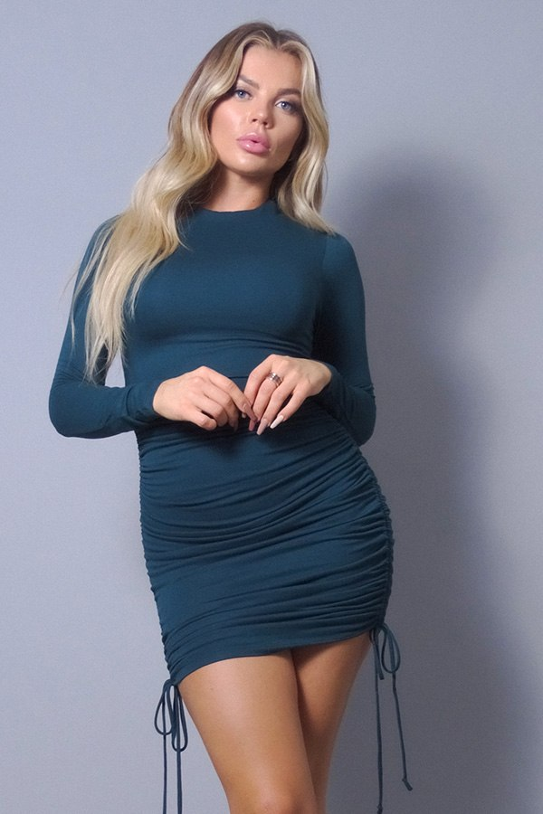 Sexy Long Sleeve Mock Neck Side Or Twist Ruching Dress  - KjSelections