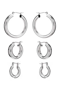 Basic Mini Hoop Earring 3 Pair Set  - KjSelections