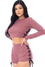 Color Contrast Lace Up Side Shorts Set  - KjSelections