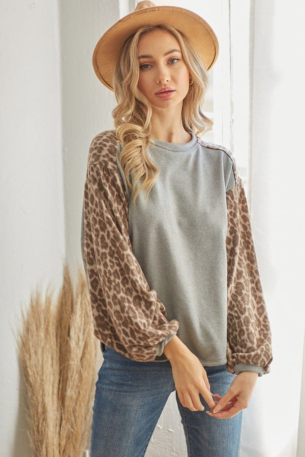 Leopard Solid Long Sleeve Top  - KjSelections