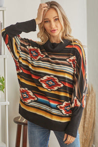 Tribal Patterned Mockneck Longsleeve Top  - KjSelections