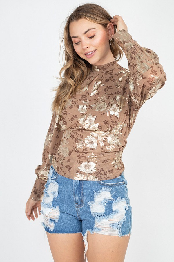 Floral Print Front & Back Keyhole Top  - KjSelections