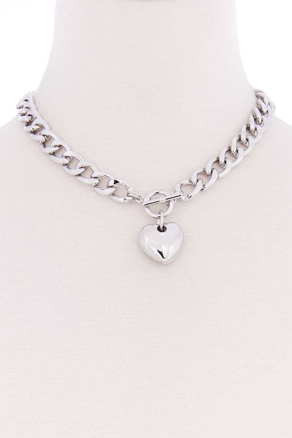 Basic Chunky Chain With Heart Pendant Necklace  - KjSelections