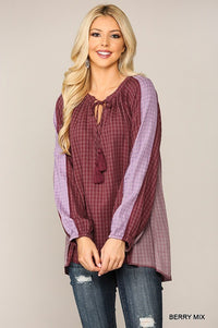 Textured Color Mixed Tassel Tie Peasant Top With Reverse Stitch Detail  - KjSelections