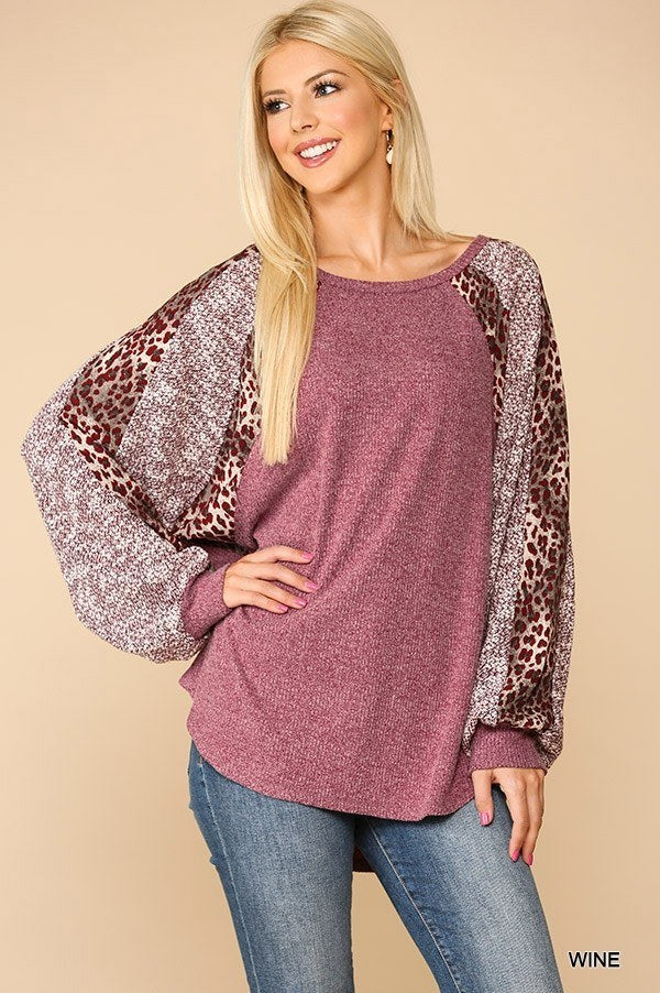 Textured Knit And Animal Print Mixed Dolman Sleeve Top  - KjSelections