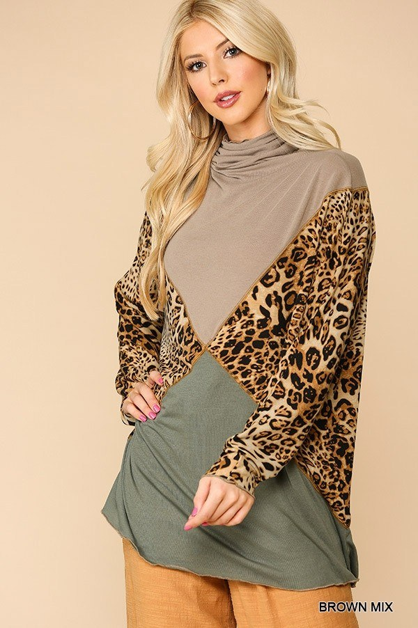 Solid And Animal Print Mixed Knit Turtleneck Top With Long Sleeves  - KjSelections