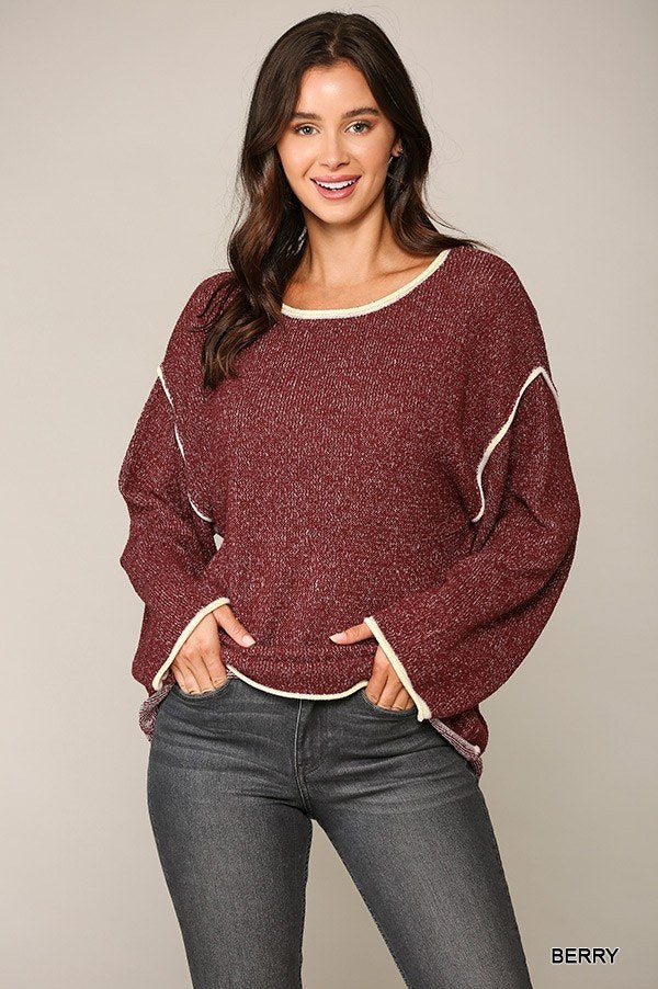 Two-tone Sold Round Neck Sweater Top With Piping Detail  - KjSelections