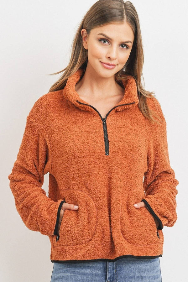 Long Sleeve Half Zipper Pullover Loopie Terry  - KjSelections