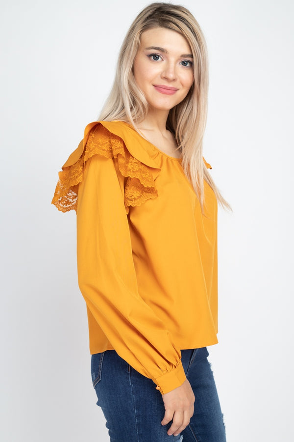Balloon Sleeve Lace Ruffle Top  - KjSelections