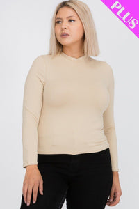 Plus Size Mock Neck Solid Top  - KjSelections
