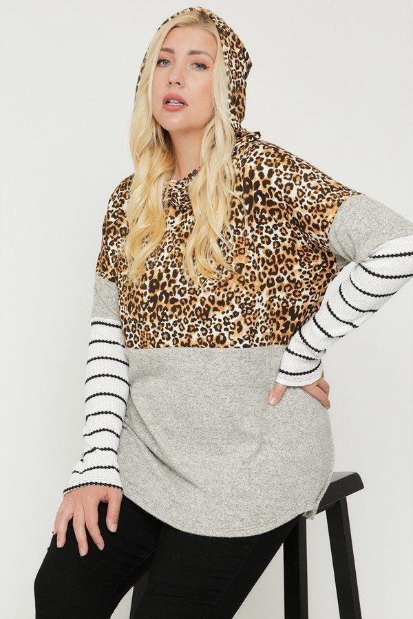 Plus Size Color Block Hoodie Featuring A Cheetah Print  - KjSelections