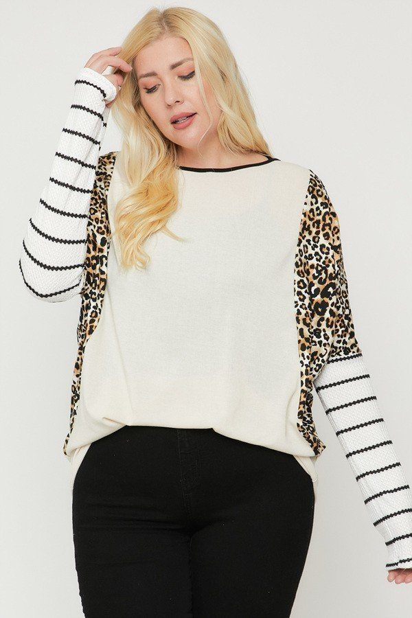 Plus Size Cheetah Print  Long Sleeve Top  - KjSelections