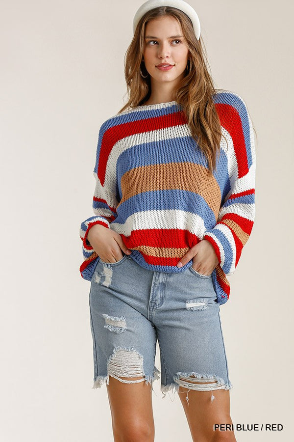 Multicolored Stripe Round Neck Long Sleeve Knit Sweater  - KjSelections