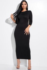 Solid 3/4 Sleeve Midi Dress With Back Cut Out  - KjSelections