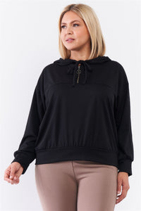 Plus Black Oversize High Neck Zip-up Detail Draw String Tie Hoodie Sweatshirt  - KjSelections