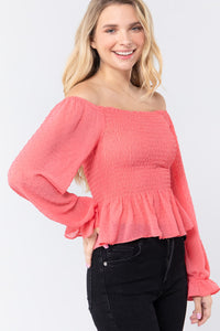 Off Shoulder Clip Dot Woven Top  - KjSelections