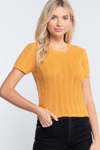 Short Slv Crew Neck Pointelle Sweater Top  - KjSelections