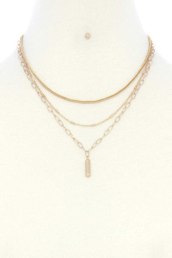 Metal Bar Oval Link Layered Neclace  - KjSelections
