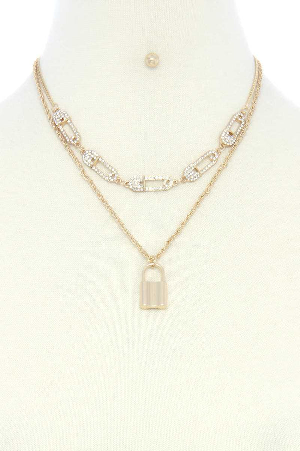 Saftey Pin Charm Link Layered Necklace  - KjSelections