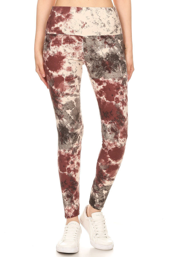 5-inch Long Yoga Style Banded Lined Tie Dye Printed Knit Legging With High Waist  - KjSelections