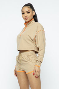 Sporty Crop Top Sporty High-waist Shorts Set  - KjSelections