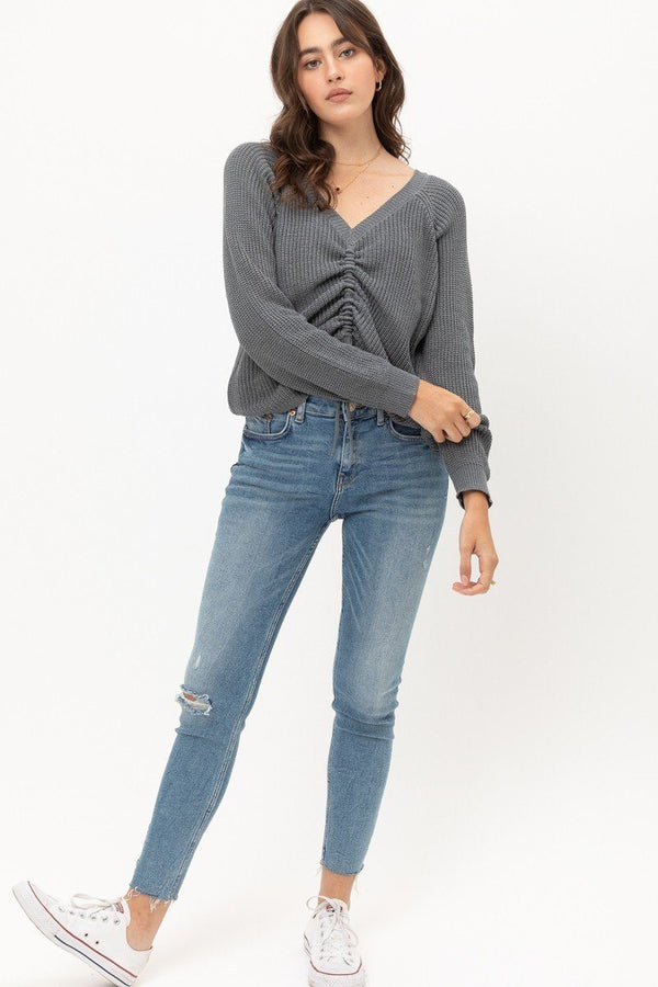 Long Sleeves, Tied Up, Ruched Detail  - KjSelections