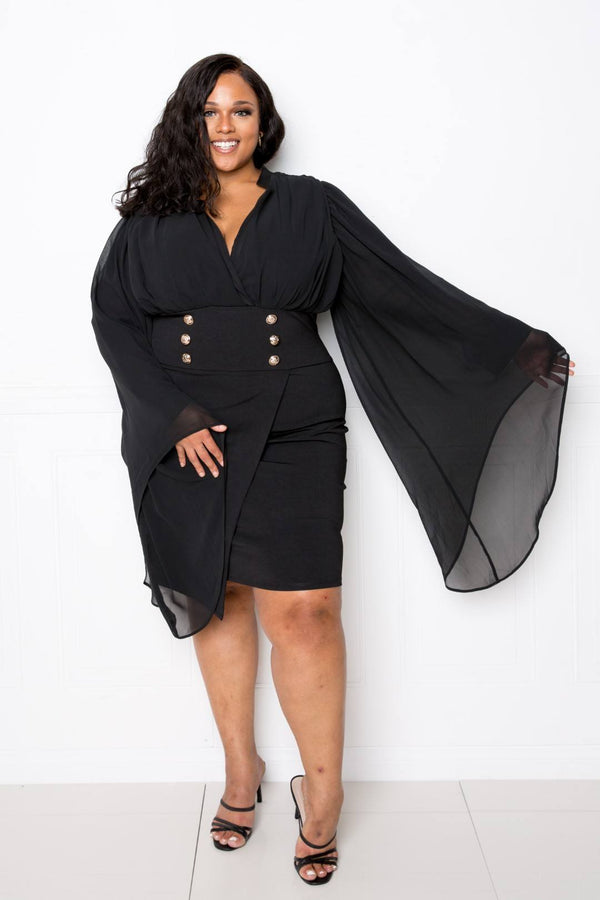 Cape Dress With Button Accent  - KjSelections