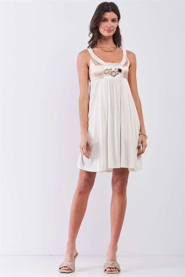 Dear Juliet White & Champagne Gold Sleeveless Embroidered Satin Detail Mini Dress  - KjSelections