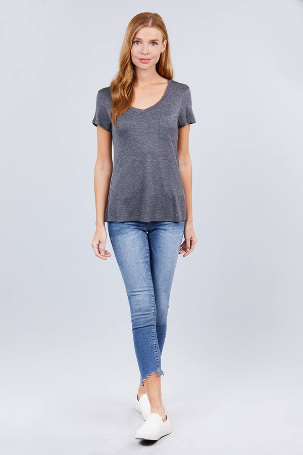V-neck Rayon Jersey Top  - KjSelections