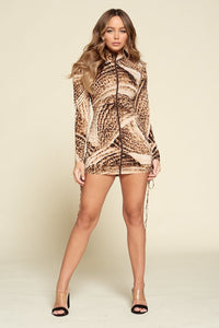 Sand Brown Bodycon Long Sleeve Dress  - KjSelections