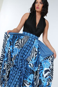 Animal Chain Print Denim Tacked Maxi Skirt In Black Gold  - KjSelections