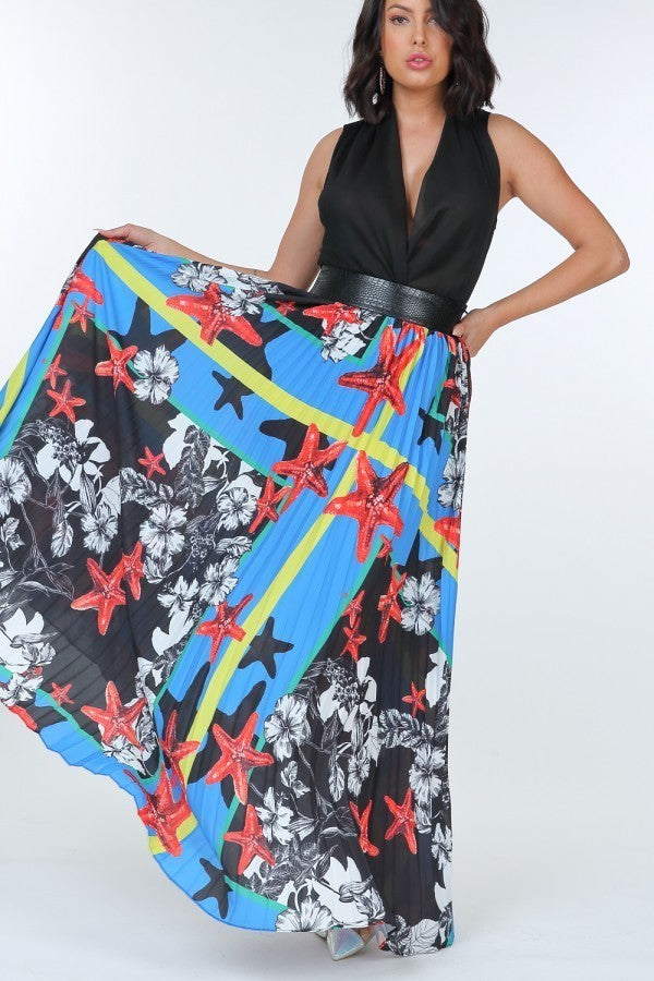 Pleated Print Maxi Skirt With Leather Waist Band  - KjSelections