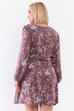 Plus Washed Burgundy Floral Print Long Puff Sleeve Relaxed Mini Dress  - KjSelections