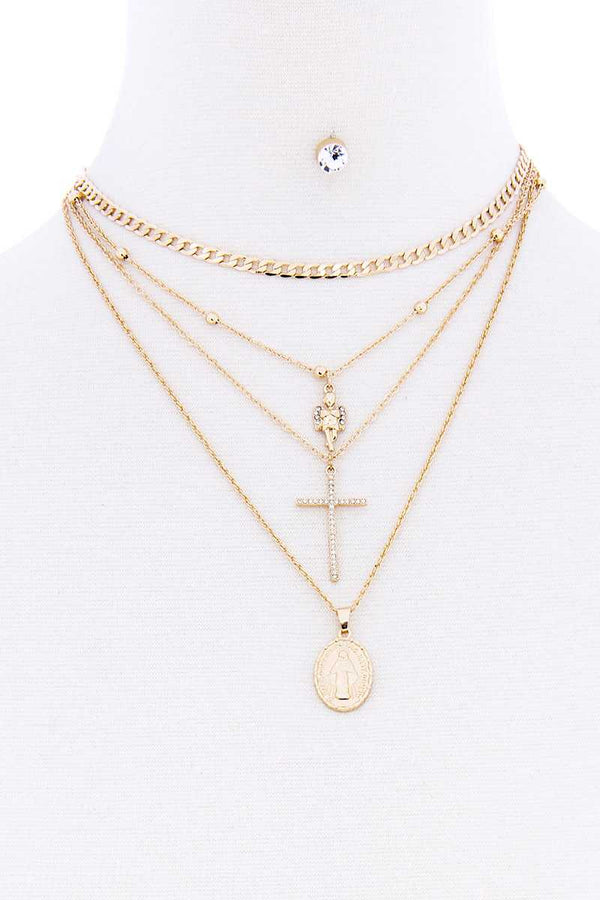 Fashion Multi Layer Chain Bead Angel Cross Holy Necklace With Earring Set  - KjSelections