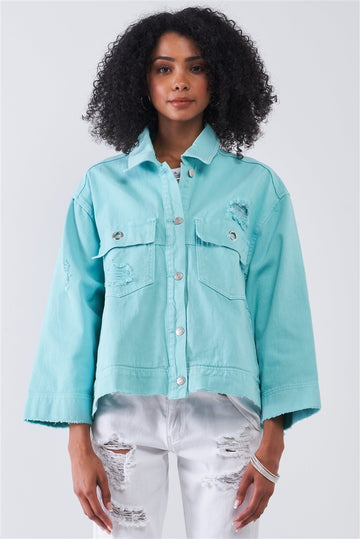 Washed Distressed Button-down Front Raw Hem Detail Wide Sleeve Oversized Denim Jacket
